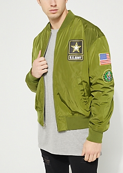 Olive Army Patch Bomber Jacket