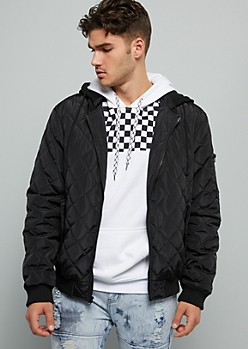 Black Quilted Hooded Puffer Bomber Jacket