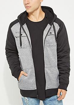 Gray Marled Sherpa Lined Jacket