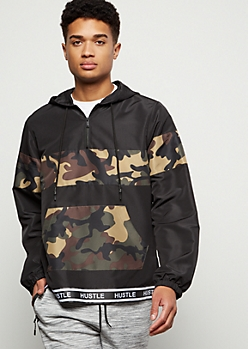 Black Camo Print Hustle Striped Windbreaker