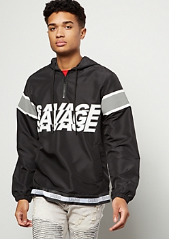 Black Striped Savage Half Zip Graphic Windbreaker