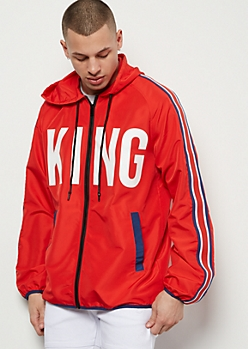 Red King Side Striped Zip Front Graphic Windbreaker