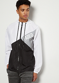 White Diagonal Colorblock Faded Windbreaker