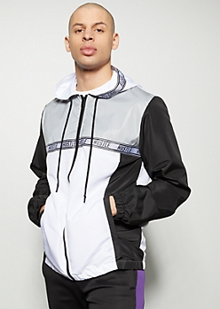 White Reflective Colorblock Hustle Striped Windbreaker