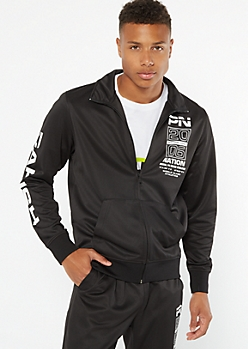 Parish Nation Black Zip Front Graphic Track Jacket