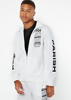 Parish Nation White Zip Front Graphic Track Jacket