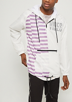 White Good Vibes Pullover Hooded Windbreaker