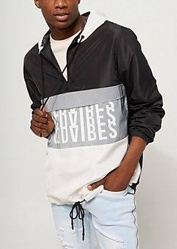 Black Metallic Good Vibes Hooded Windbreaker
