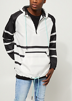 White Contrast Stripe Pullover Windbreaker