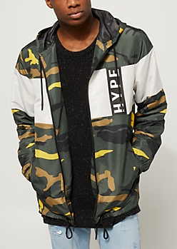 Camo Print Hype Zip Up Windbreaker