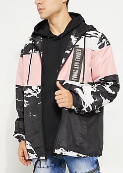 Black & Pink Colorblock Hooded Windbreaker