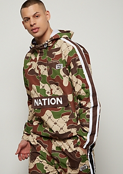 Parish Nation Camo Print Striped Windbreaker