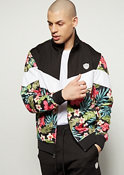 Parish Nation Tropical Chevron Colorblock Track Jacket