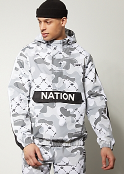 Parish Nation Gray Camo Print Pocket Windbreaker