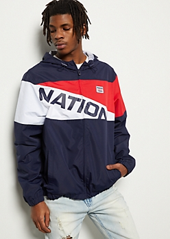 Parish Nation Navy Colorblock Graphic Windbreaker
