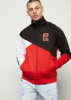 Parish Nation Red Zigzag Colorblock Graphic Track Jacket