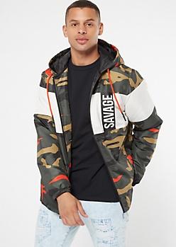 Neon Camo Print Colorblock Savage Puffer Jacket