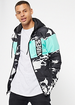Mint Marble Colorblock Vibes Puffer Jacket