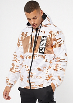 Copper Camo Print Colorblock Savage Puffer Jacket