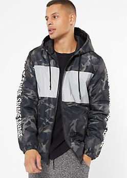 Black Camo Print Colorblock Savage Puffer Jacket