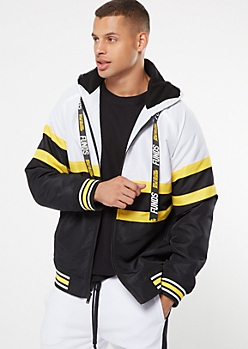 Gold Colorblock Striped Funds Puffer Jacket