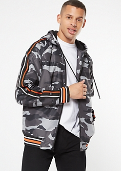 Black Camo Print Side Striped Sherpa Lined Puffer Jacket