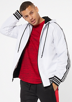 White Side Striped Sherpa Lined Puffer Jacket