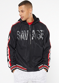 Black Side Striped Sherpa Lined Savage Puffer Jacket