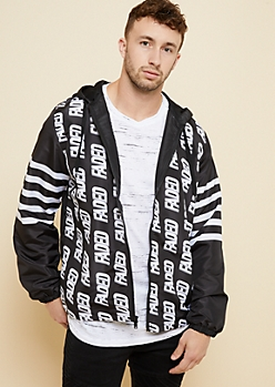 Black Athletic Striped Faded Windbreaker