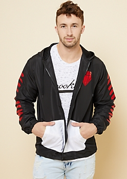 Black Metallic Red Striped Windbreaker