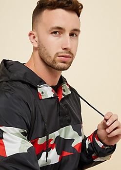 Black Colorblock Snap Front Pullover Windbreaker