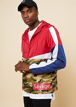 Camo Print Savage Box Colorblock Windbreaker