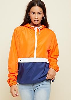 Orange Colorblock Snap Flap Windbreaker