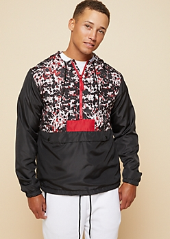Red Paint Splattered Snap Pocket Pullover Windbreaker