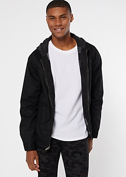 Black Flannel Lined Hooded Zip Jacket