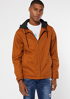 Cognac Flannel Lined Hooded Zip Jacket