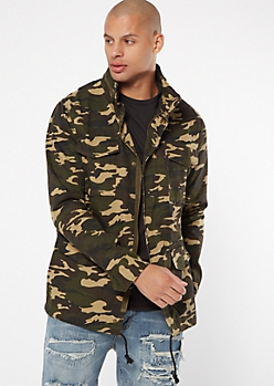 Camo Print Anorak Hooded Jacket