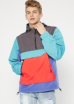 Teal Colorblock Half Zip Pullover Windbreaker