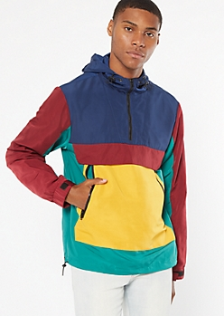 Dark Colorblock Half Zip Pullover Windbreaker