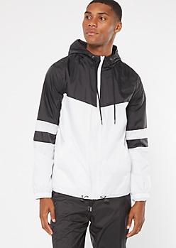 Black Colorblock Swishy Nylon Windbreaker