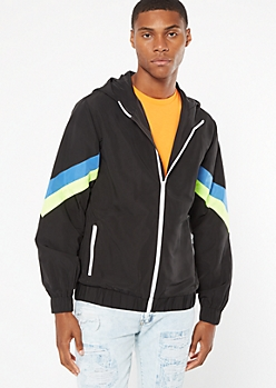 Black Neon Chevron Striped Zip Front Windbreaker