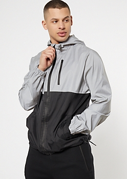 Reflective Silver Colorblock Swishy Nylon Windbreaker