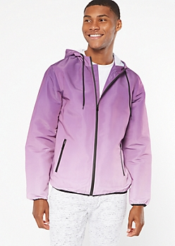 Purple Ombre Zip Front Windbreaker