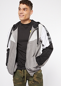 Gray Kanji Colorblock Zip Front Windbreaker