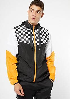 Orange Checkered Print Colorblock Zip Front Windbreaker