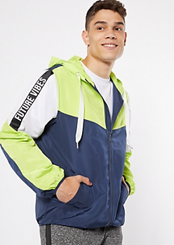 Green Future Vibes Colorblock Zip Front Windbreaker