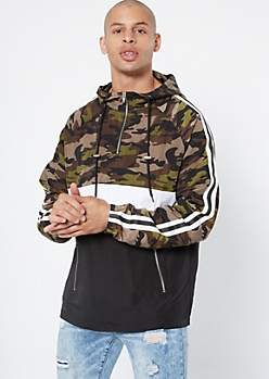 Camo Print Colorblock Side Striped Windbreaker