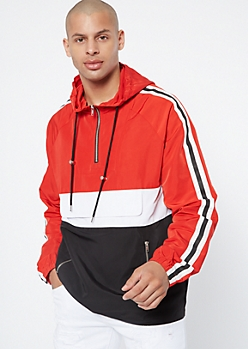 Red Colorblock Side Striped Windbreaker