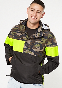 Camo Print Colorblock Interchangeable Hooded Windbreaker