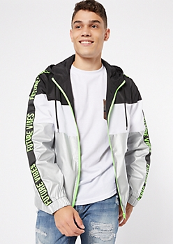 Silver Metallic Future Vibes Colorblock Zip Front Windbreaker